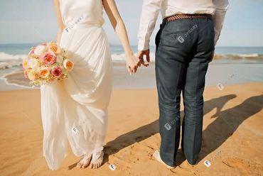 夏威夷婚礼 白色浪花沙滩婚礼