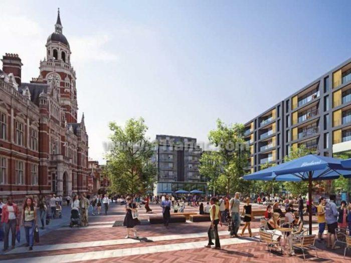 英国伦敦富力皇后广场Queen's Square公寓,占据克洛伊登的中心地位